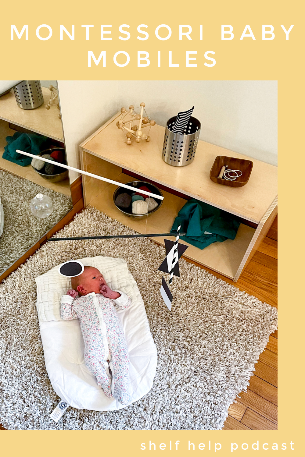 In this Montessori parenting podcast we talk about play with slightly older newborns including the progression of Montessori baby mobiles.