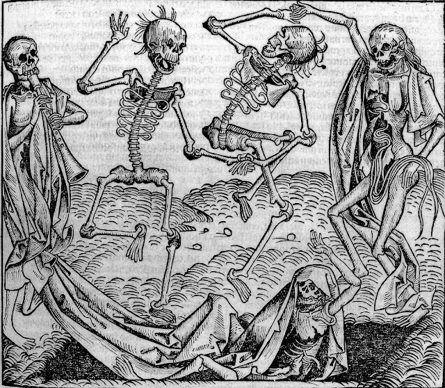 Old black and white line drawing of Dancing skeletons, called 'Dance of Death'