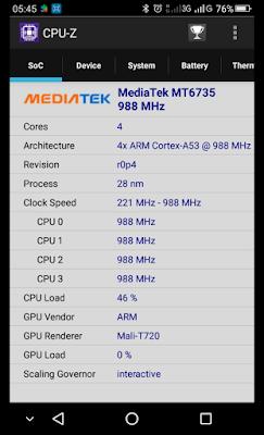 Melihat SoC yang digunakan dalam Smartphone menggunakan CPU-Z