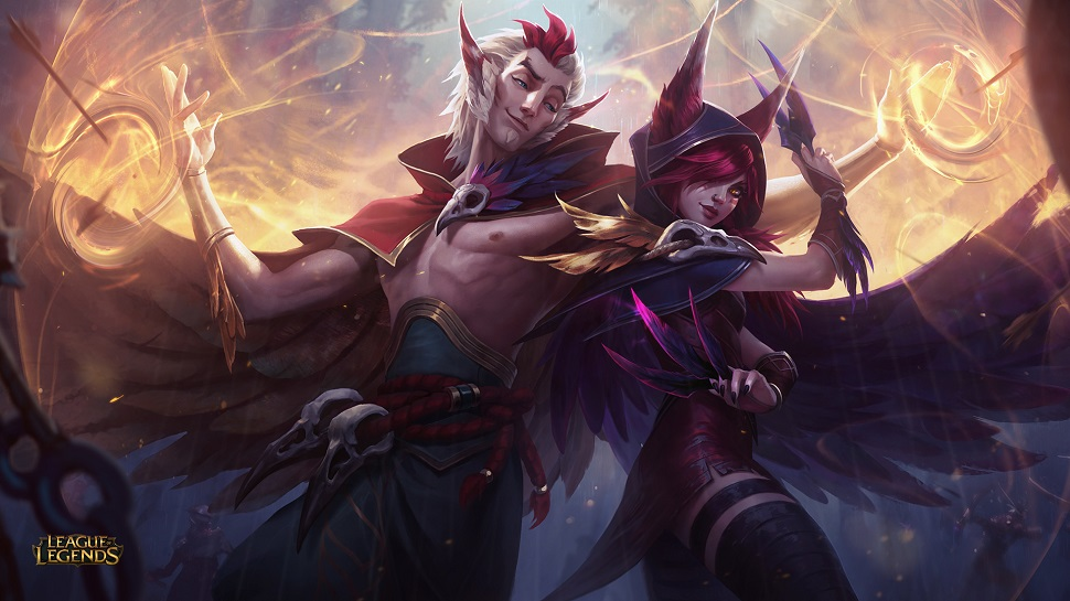 Rakan and Xayah, two ancestral wood characters who play an important role in this build.