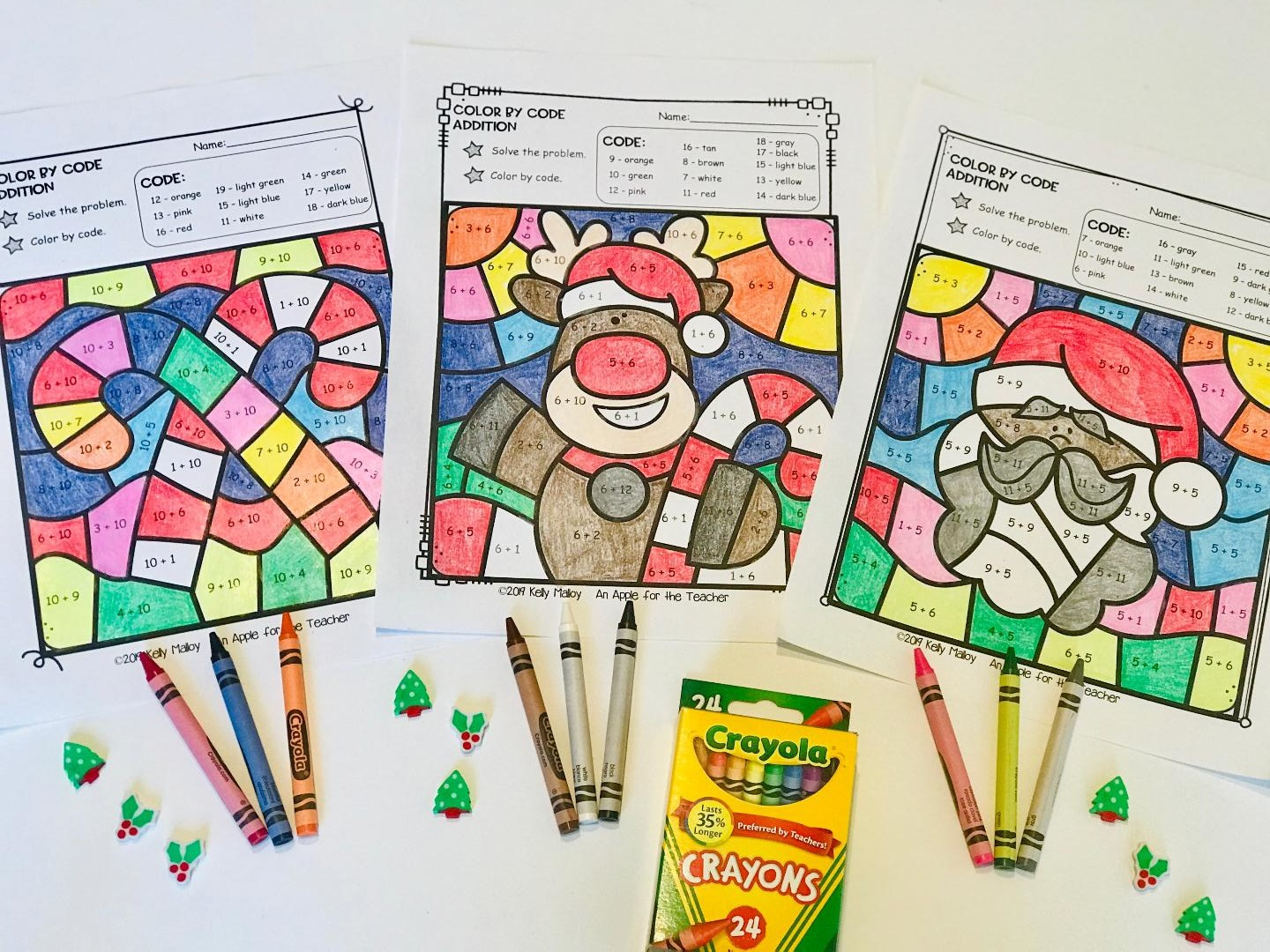 An Apple For The Teacher: Christmas Color By Number Worksheets