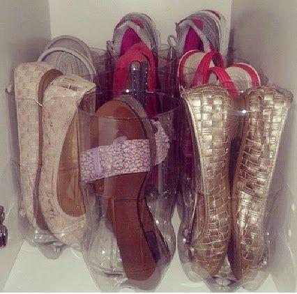 organizador de sapatos com garrafa pet