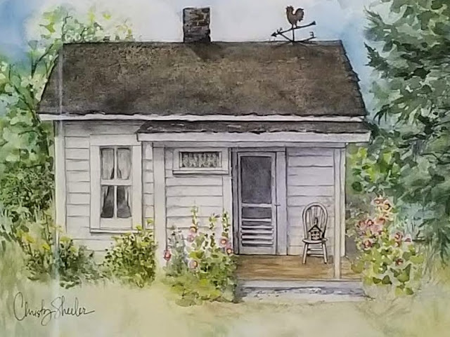 Closer view of painting with the little white house and hollyhocks.  Artist Christy Sheeler