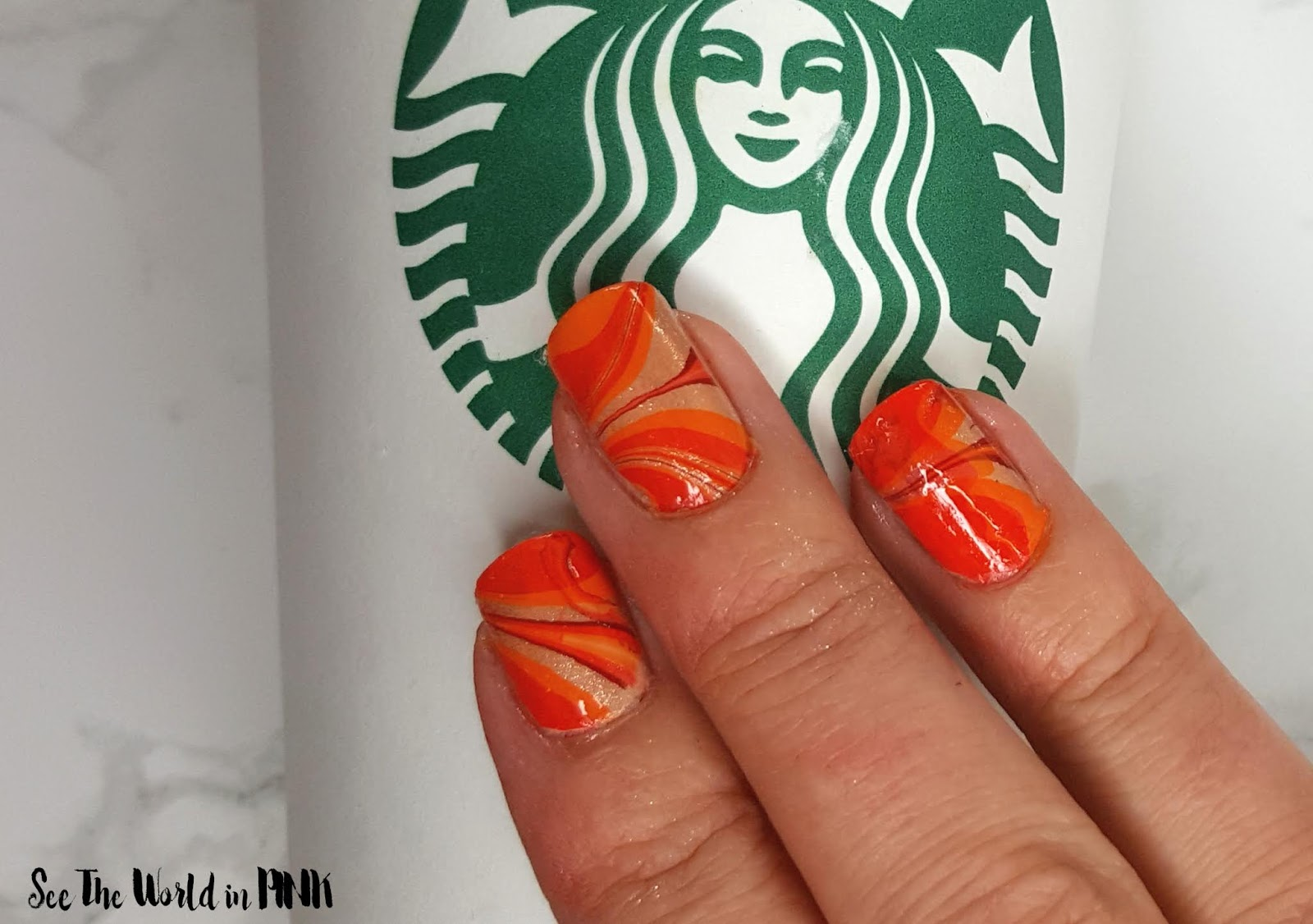 Manicure Monday - Pumpkin Spice Latte Water Marble Nails
