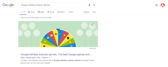 Google Birthday Surprise Spinner Google fun tricks