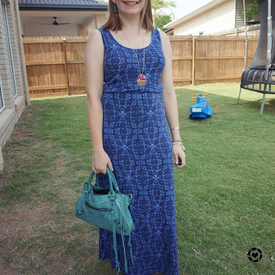 awayfromtheblue Instagram easy summer mum outfit blue geometric print maxi dress with turquoise Balenciaga first blue india bag