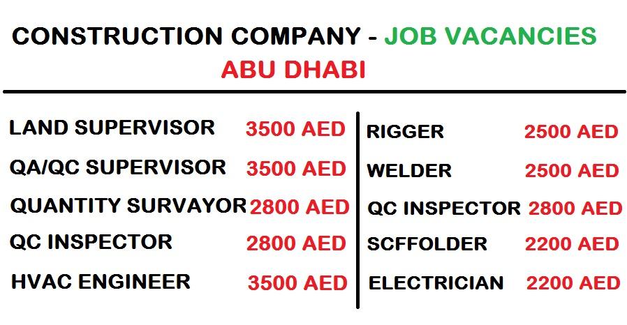 ABU DHABI - CONSTRUCTION COMPANY JOB VACANCIES - DUBAI JOB WALKINS