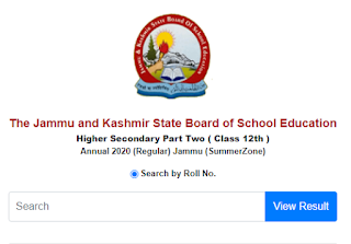 JKBOSE Class 12th Result 2021 Search By Name Wise