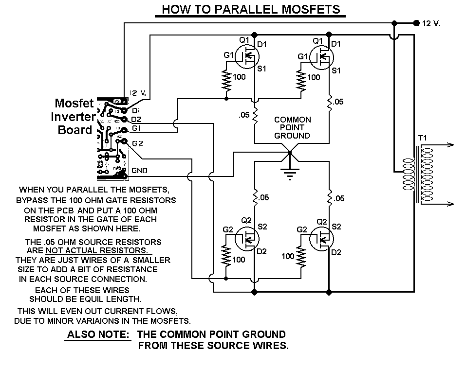 1000 Watt Inverter Circuit Diagram How To Wire Trailer Lights 4 Way Power Circuitstune Parallel Mosfets