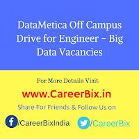 DataMetica Off Campus Drive for Engineer – Big Data Vacancies