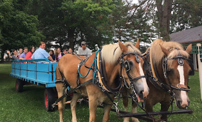 Interns in horse drawn wagon at Landis Valley July 2017