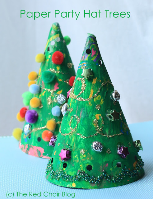 painted paper party hat Christmas tree easy craft for kids