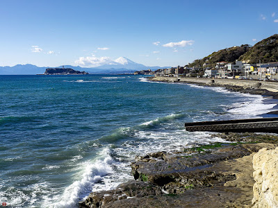 Mt.Fuji and Enoshima island as seen from Inamuragasaki point (Kamakura)