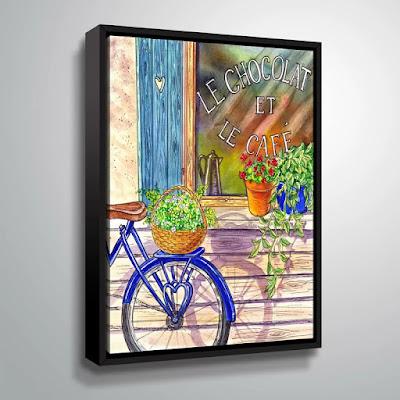 Bestselling watercolor painting of bicycle through licensing artist Irina Sztukowski