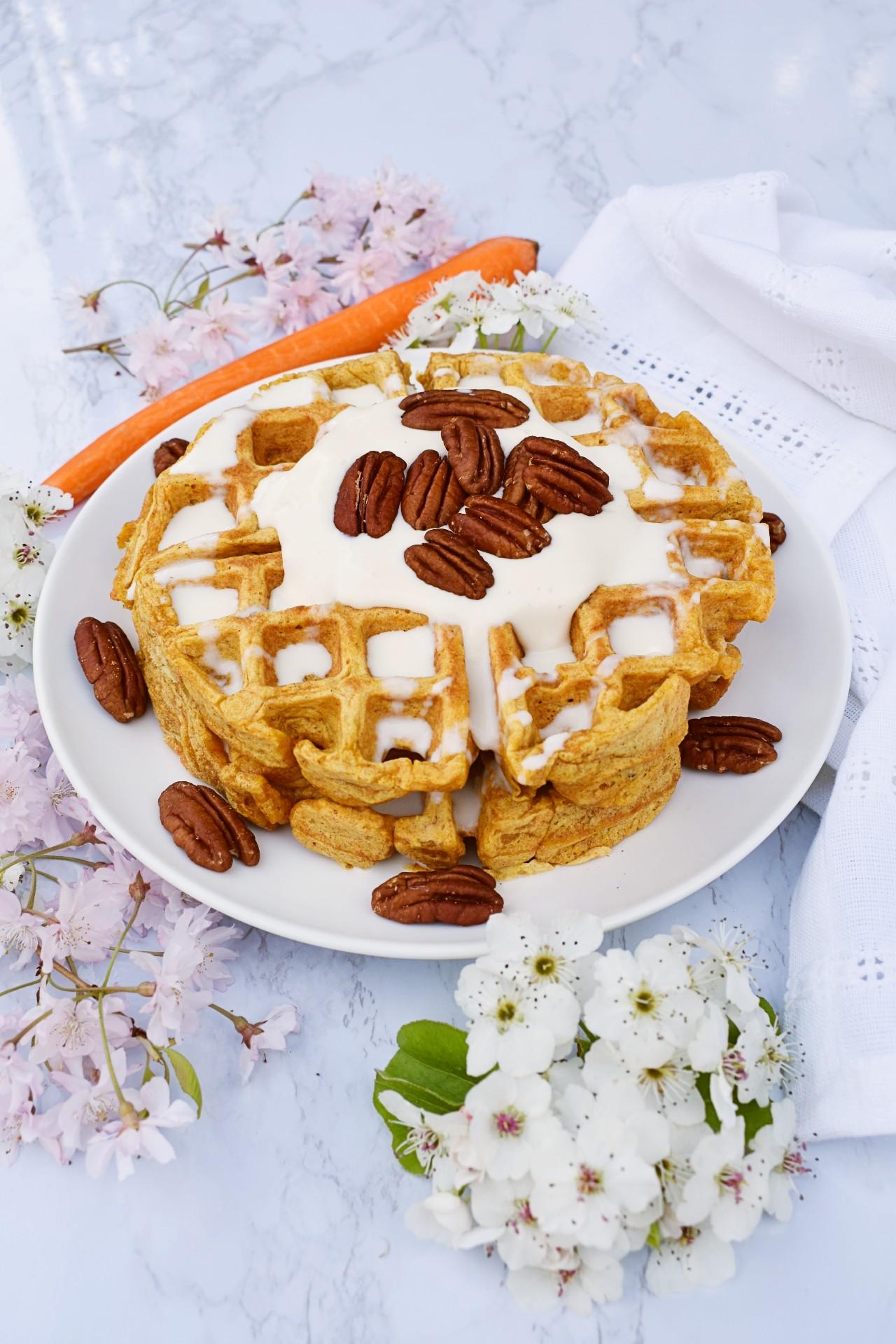 Pecan Carrot Cake Waffles