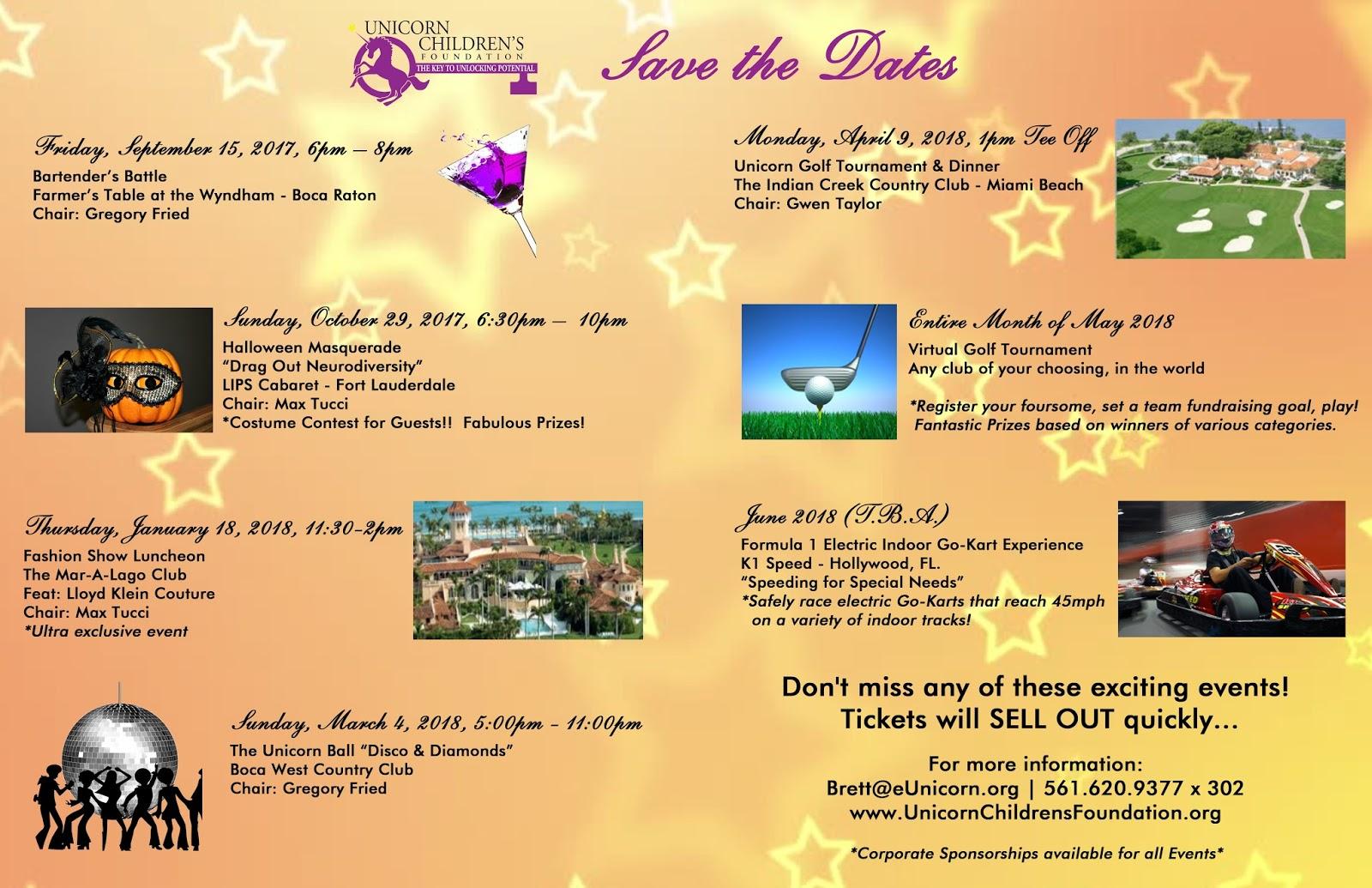 Unicorn Children's Foundation: Mark your calendars!!