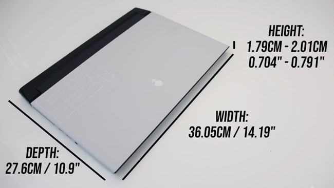 This laptop is 14.19 x 10.9 x 2.01 inches big.