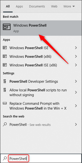 "اكتب ""PowerShell"" في مربع Windows Search ، ثم حدد ""Windows PowerShell"" من النتائج."