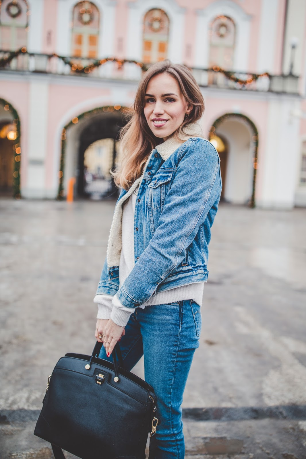 denim jacket sweater jeans outfit winter