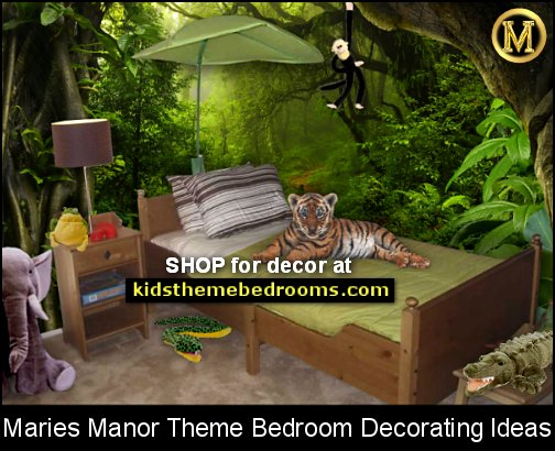 Jungle rainforest theme bedroom decorating ideas and jungle theme decor  jungle theme bedrooms - safari jungle themed wild animals - jungle animals wild safari bedroom ideas - tropical jungle theme - jeep beds  - wild animal murals - tropical lagoon murals - Lion king Disney Jungle vines wall decals - jungle animals wall decals
