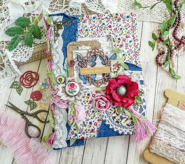 блокнот джинсовий з трояндами, блокнот хендмейд, цветы из атласной ленты, роза из атласной ленты, роза крючком, блокнот скрапбукинг, notebook handmade, тканевый блокнот