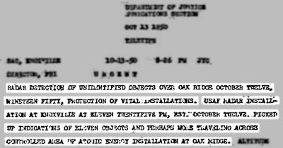 UFO Activity Over Oakridge Atomic Energy Installation – Fighter Jets Scrambled 10-13-1950