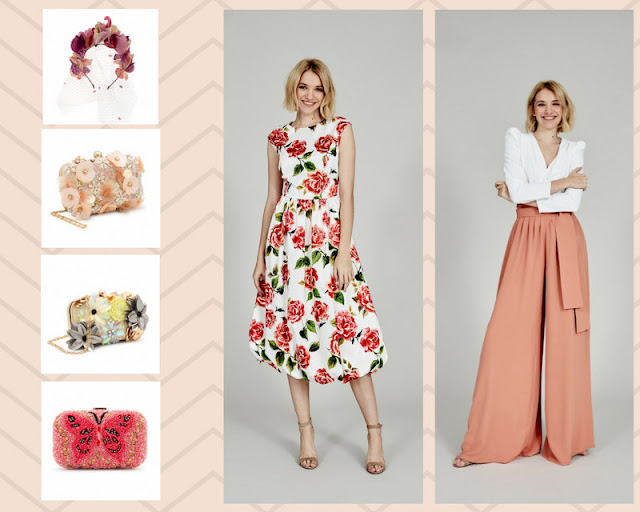 complementos invitada boda pantalones palazzo vestido flores