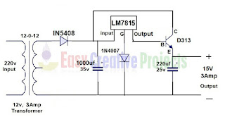 15v 3 amp power supply circuit diagram