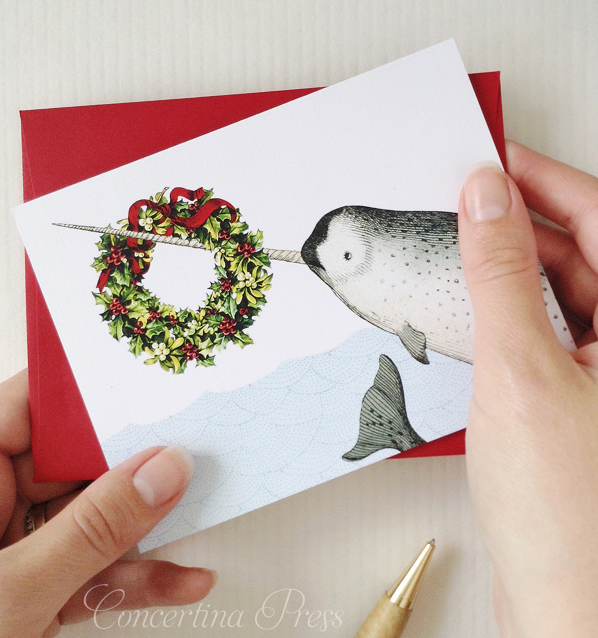 Narwhal Christmas Card from Concertina Press