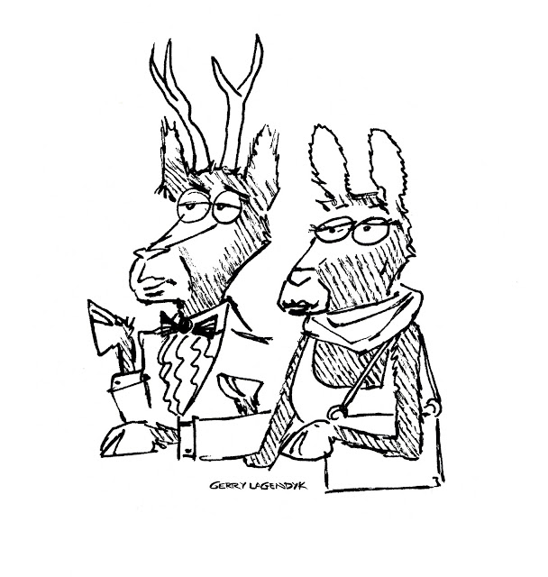deer couple, antlers, cartoon, sketchbook, gerry lagendyk,