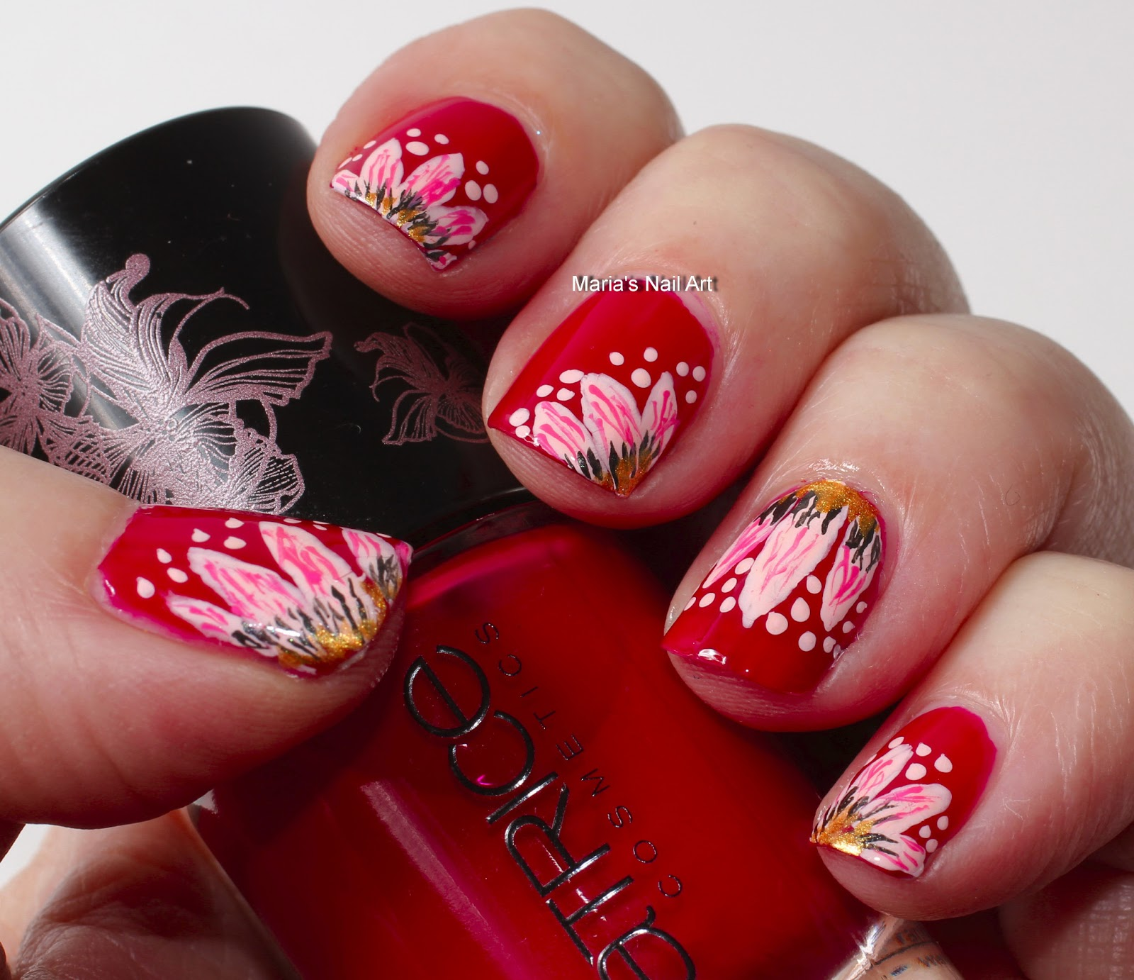 Red Nail Art: Marias Nail Art And Polish Blog: Pink Flowers For The Red