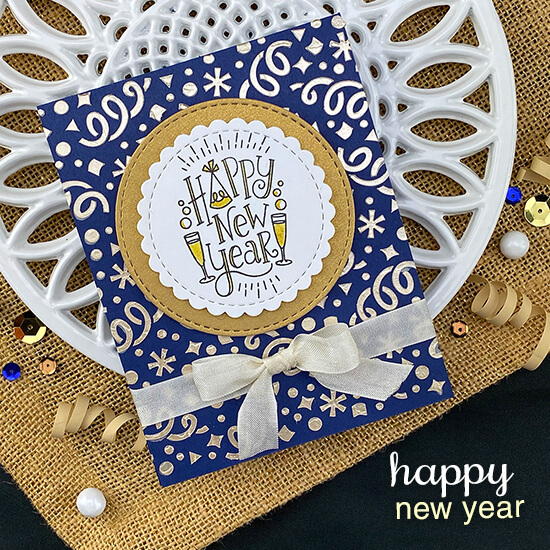 Happy New Year Card by Jennifer Jackson | Happy New Year Stamp Set, Confetti Stencil, and Circle Frames Die Set by Newton's Nook Designs #newtonsnook #handmade