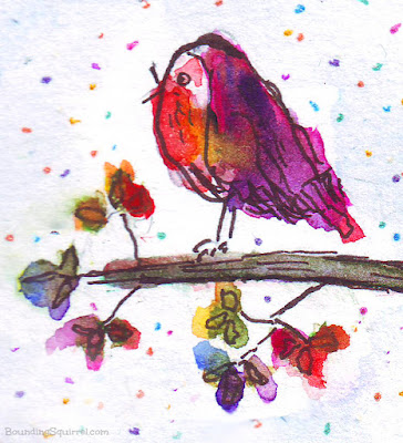 A rainbow watercolour Christmas robin, in traditional pen and wash.