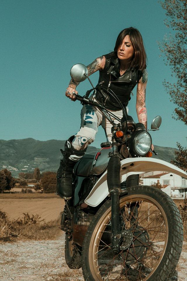 Francesca Lai and her Yamaha XT400 1982. Pic by Simone De Ranieri