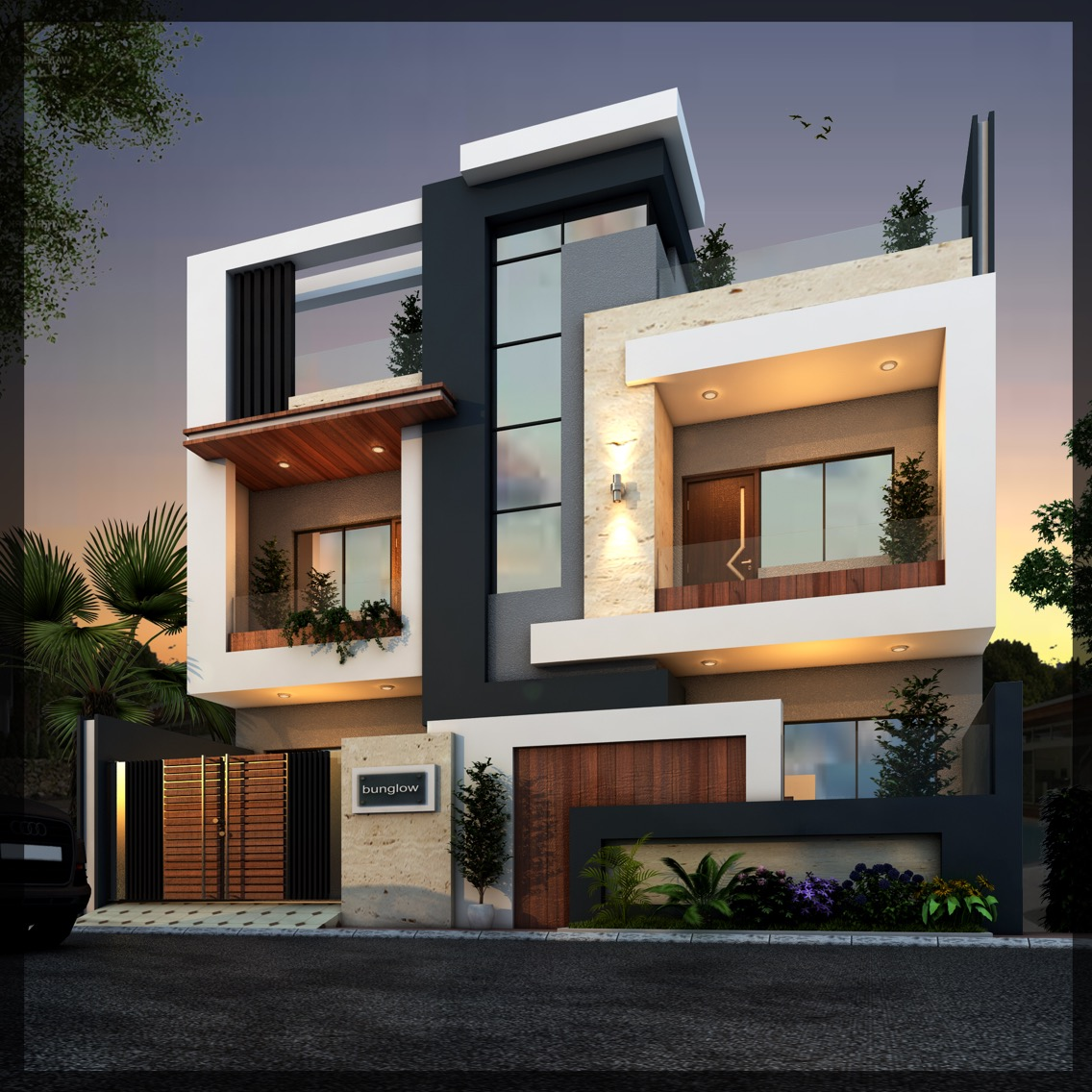 Modern independent floor house elevation