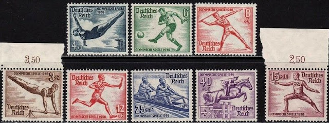 Third Reich 1936 Summer Olympics Stamp Set