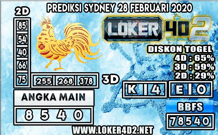 PREDIKSI TOGEL SYDNEY LOKER4D2 28 FEBRUARI 2020