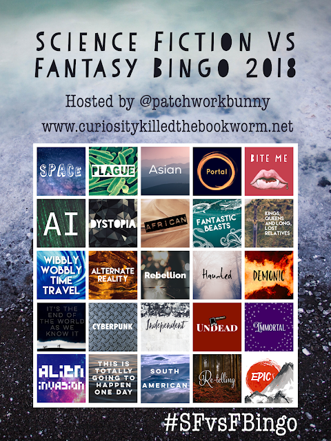 http://www.curiositykilledthebookworm.net/2017/12/science-fiction-vs-fantasy-bingo-2018.html