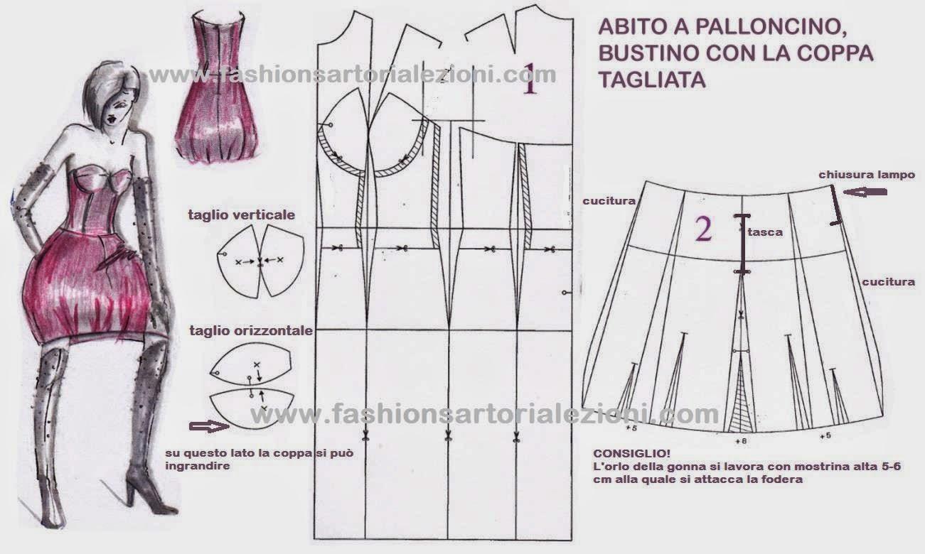 Popolare FASHION & SARTORIA: ABITO A BUSTINO CON GONNA A PALLONCINO TB62