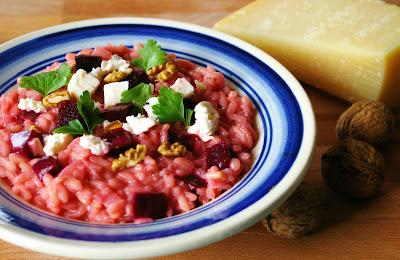 risotto buraczkowe, risotto z buraczkami i białym serem
