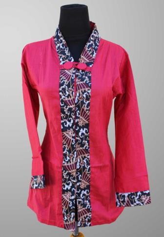 Batik Kombinasi Polos Modern Wanita