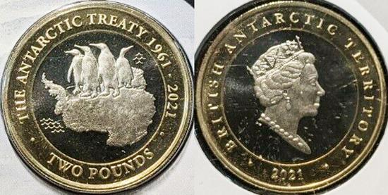 British Antarctic Territory 2 pounds 2021 - 60 years of the Antarctic Treaty