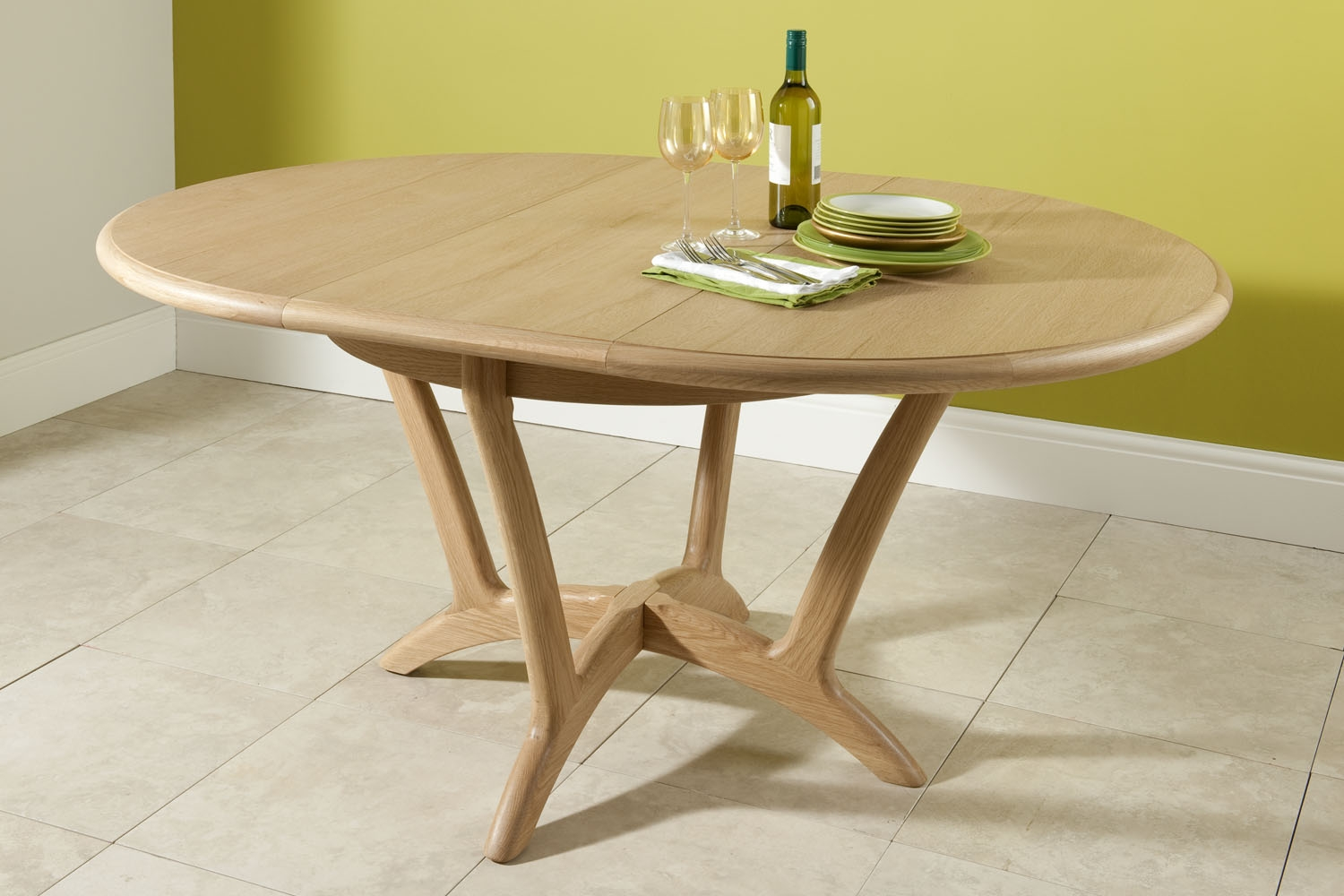 oak round dining table extendable for home