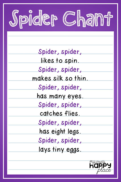 Spider Chant, Using Rhymes and Poetry to Teach About Spiders