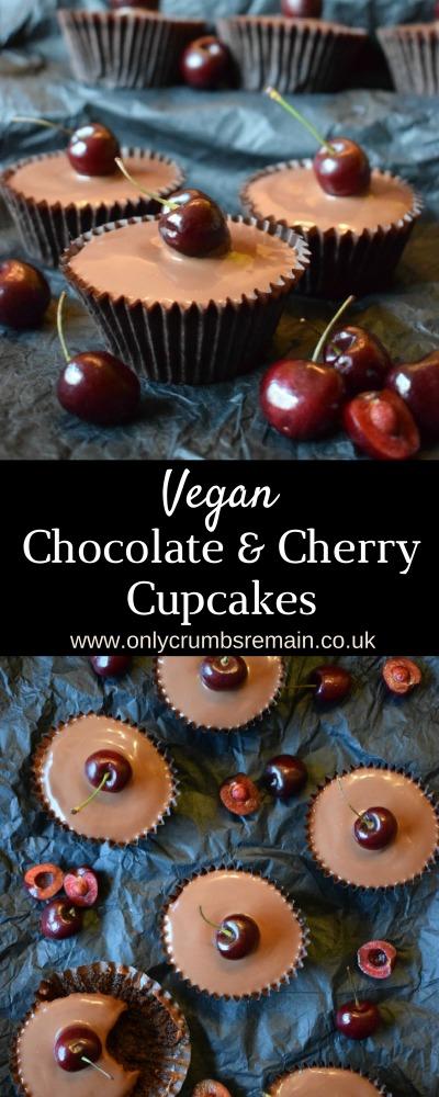 Egg free and vegan easy to make Chocolate & Cherry Cupcake recipe