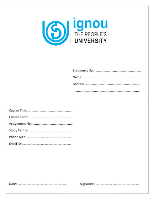 ignou assignment front page, front page of ignou assignment, ignou assignment, ignou assignment front  new page