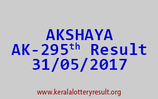 AKSHAYA Lottery AK 295 Results 31-5-2017
