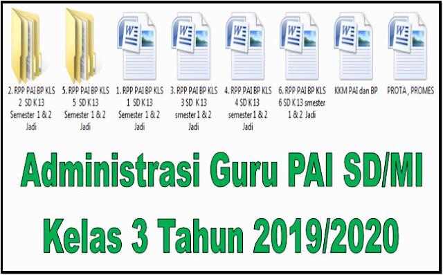 Administrasi Guru PAI SD/MI Kelas 3 Tahun 2019/2020 - Guru Krebet 3