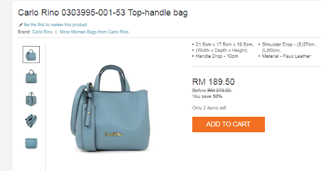 Carlo Rino Top Handle Bag Blue