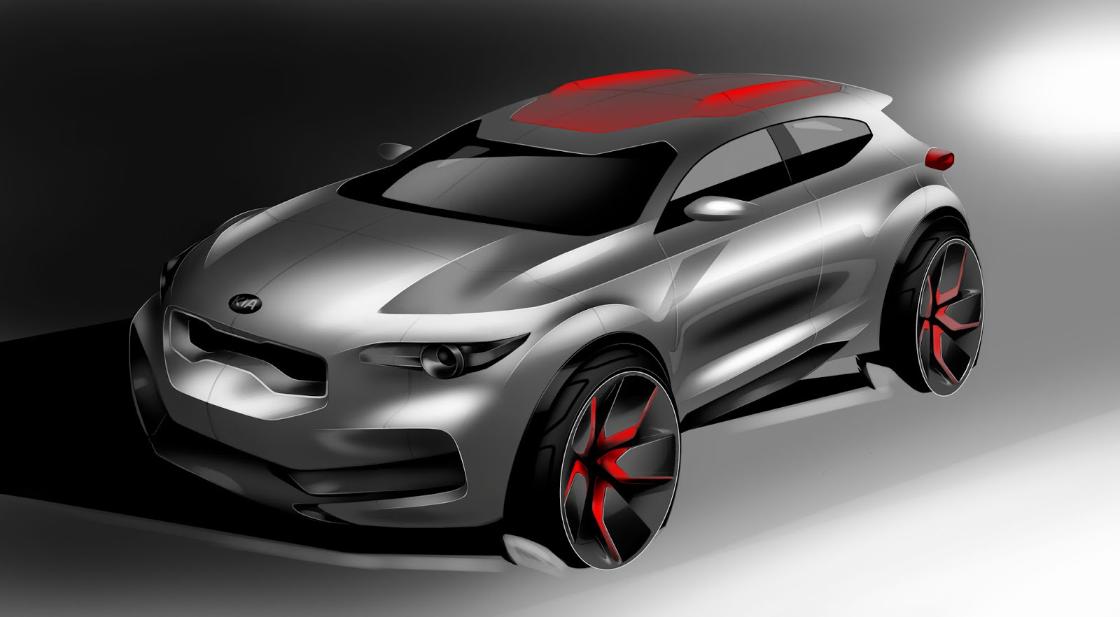 Kia Stonic sketch - front of styling option 2